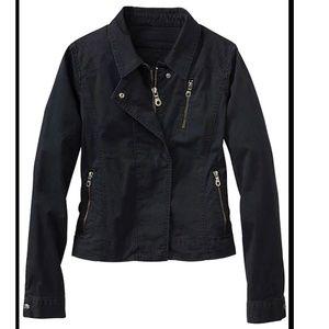 Cutie Crop Moto Button Down Zip Jacket Black Sz M